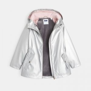 Silvery water-repellent hooded parka
