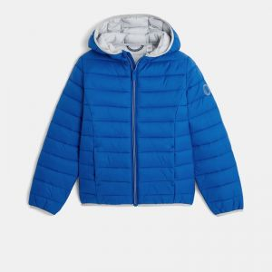 Water-repellent padded coat with hood