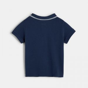 Plain-colored piqué knit polo shirt