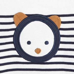 Organic cotton interlock striped footed sleeper with a bear