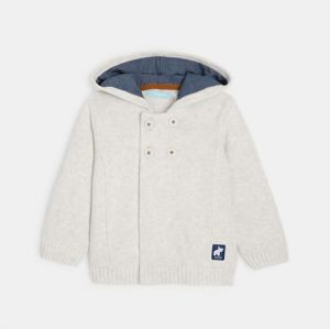 Zipped cotton cardigan with a hood