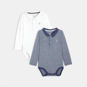 Bodysuits with polo collar (set of 2)