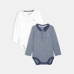 Bodysuits with polo collar (set of 2)96754