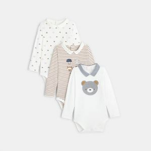 Organic cotton stretch bodysuits with polo collar (set of 3)96311