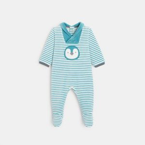 Striped velvet footed sleeper with a penguin motif97074