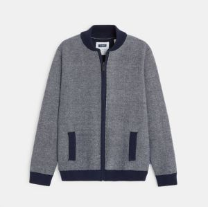 Zippered bomber jacket in two-tone knit