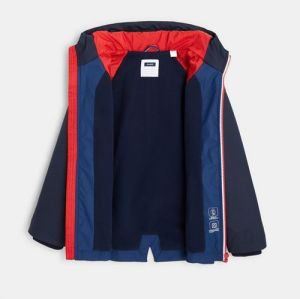 Water-repellent, lined and zipped jacket