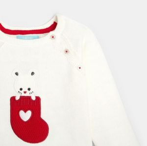 Thin sweater with an embroidered mouse patch