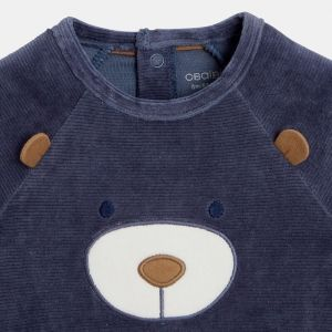 Organic cotton corduroy footed sleeper with a little face