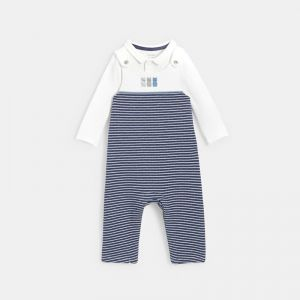 Organic cotton knit striped overalls and a bodysuit