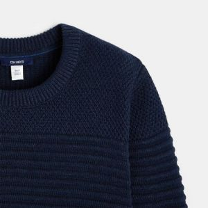 Ribbed sweater with a round collar