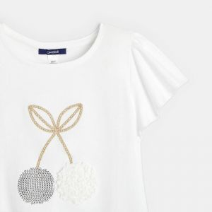 T-shirt with a tulle motif and fruit sequins