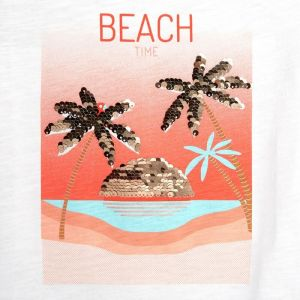 T-shirt with palm trees in magical sequins