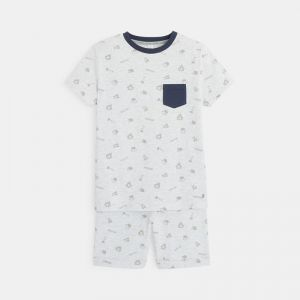 T-shirt and shorts pajama set with an adventure print