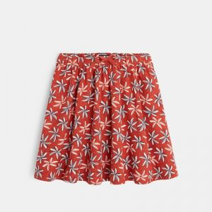 Fluid skirt with printed palm trees
