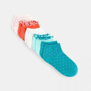 Plain-colored and polka-dotted socks (5-pair set)