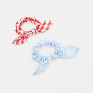 Printed bow scrunchies (set of 2)