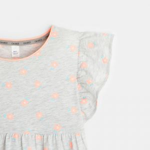 Printed t-shirt with frilled cap sleeves