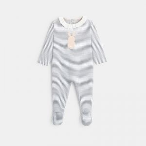Striped interlock footed sleeper with rabbits 99128