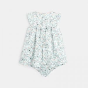 Dress with a flowery print and bloomer shorts