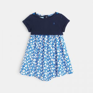 Bi-material dress with a floral print