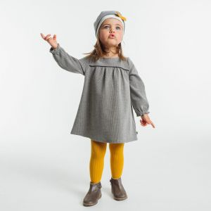 Long-sleeved micro hounds' tooth knit dress