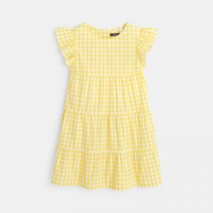 Gingham dress with multiple frills