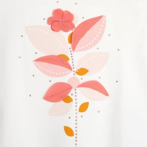 T-shirt with printed flower and polka dots