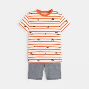 Summer pajamas with stripes and print
