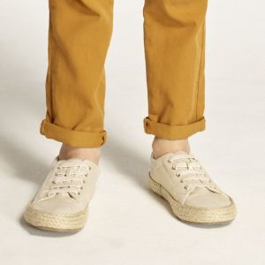 Golden canvas tennis shoes with rope soles