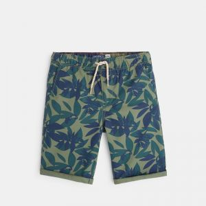 Canvas bermuda shorts with a camouflage print