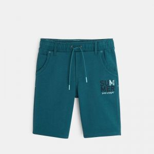 Knit bermuda shorts with an embroidered message