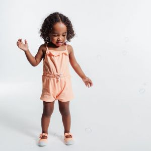 Knit romper with straps