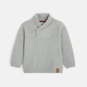 Buttoned shawl collar sweater